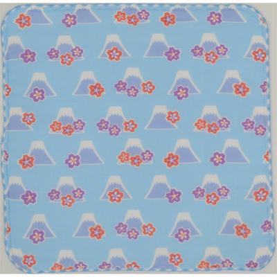 画像1: 【和心】 ガーゼたおる フジヤマ桜 ブルー (1)