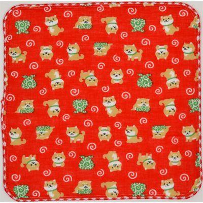 画像1: 【和心】 ガーゼたおる 豆柴のおつかい 赤 (1)