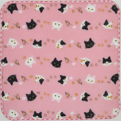 画像1: 【和心】 ガーゼたおる 猫ネコ ピンク (1)