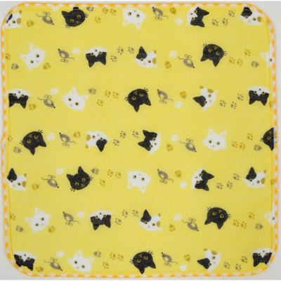 画像1: 【和心】 ガーゼたおる 猫ネコ 黄 (1)