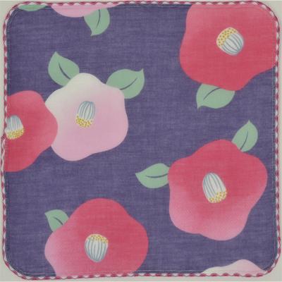 画像1: 【和心】 ガーゼたおる 椿 紫 (1)