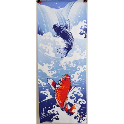 画像1: 【江戸まる】 てぬぐい 鯉の滝登り (1)