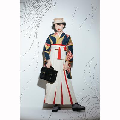 画像1: 【卒業衣装】 【Modean Antena】 二尺袖着物 浮遊 紺 (1)