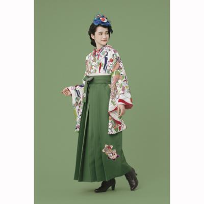 画像1: 【卒業衣装】 【九重】 袴 橘刺繍 抹茶 (1)