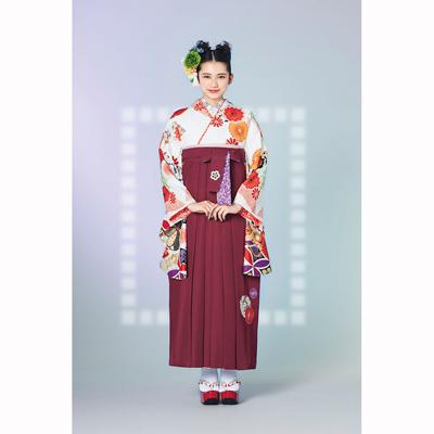 画像1: 【卒業衣装】 【榛原】 袴 菊に梅 エンジ (1)