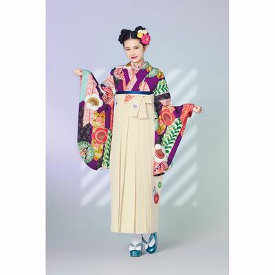 画像1: 【卒業衣装】 【榛原】 袴 菊に梅 クリーム (1)