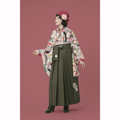 画像1: 【卒業衣装】 【九重】 袴 橘刺繍 チャコールグレー (1)