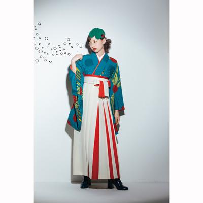 画像1: 【卒業衣装】 【Modean Antena】 二尺袖着物 再生(水玉)ターコイズ (1)