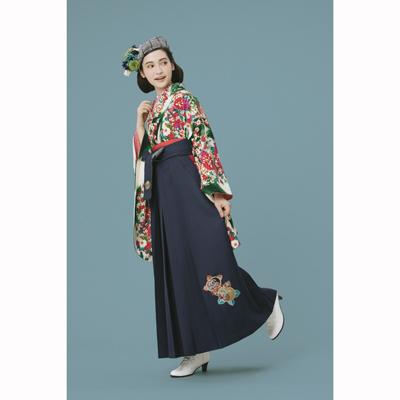画像1: 【卒業衣装】 【九重】 袴 橘刺繍 紺 (1)
