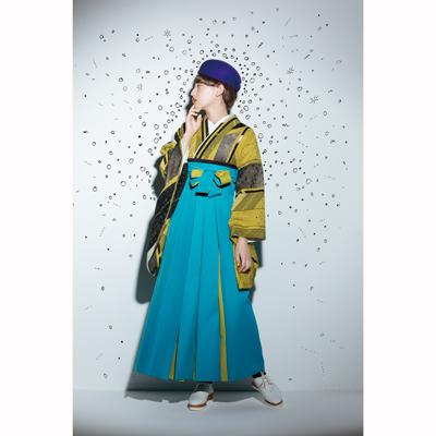 画像1: 【卒業衣装】 【Modean Antena】 二尺袖着物 閃光(矢絣)黄色 (1)