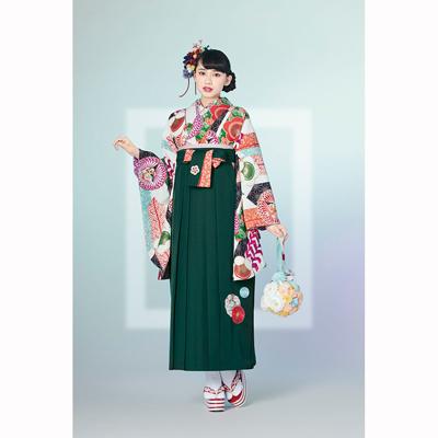画像1: 【卒業衣装】 【榛原】 袴 菊に梅 緑 (1)