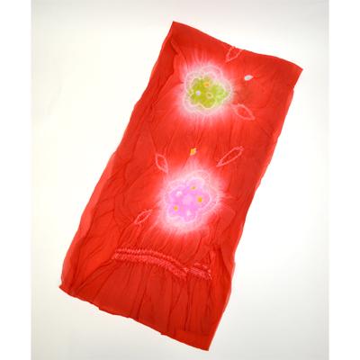 画像1: 【兵児帯】 子供兵児帯 柄絞り 赤×ヒワ×ピンク (1)