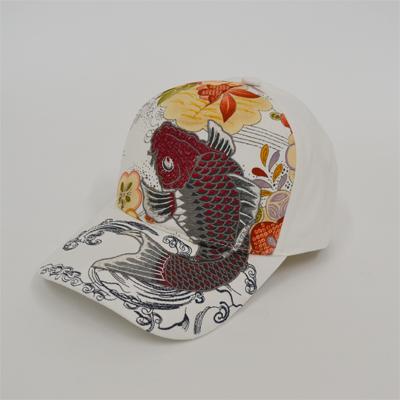 画像1: 【帽子】 刺繍綿キャップ 紅鯉/オフ (1)