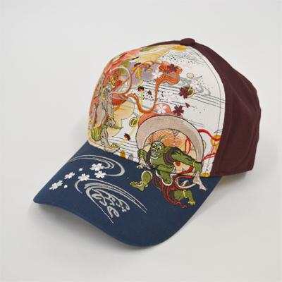 画像1: 【帽子】 刺繍綿キャップ 風神雷神 (1)