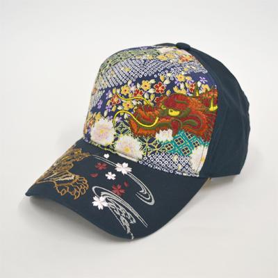 画像1: 【帽子】 刺繍綿キャップ 龍虎/紺 (1)