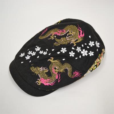 画像1: 【帽子】 刺繍ハンチング 双龍/黒 (1)