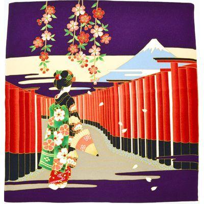 画像1: 【風呂敷】 二巾レーヨン風呂敷 鳥居舞姑 紫 (1)