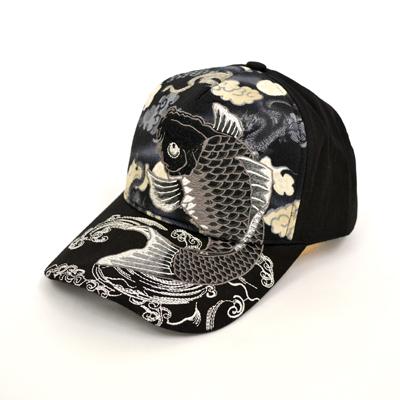 画像1: 【帽子】 刺繍綿キャップ 鯉 (1)