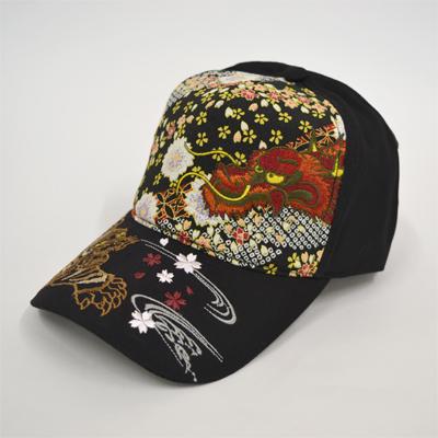 画像1: 【帽子】 刺繍綿キャップ 龍虎/黒  (1)