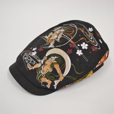 画像1: 【帽子】 刺繍ハンチング 風神雷神/黒 (1)