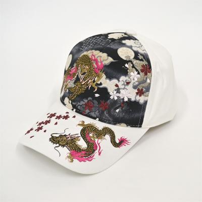 画像1: 【帽子】 刺繍綿キャップ 双龍/オフ (1)
