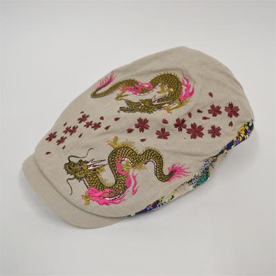 画像1: 【帽子】 刺繍ハンチング 双龍/オフ (1)
