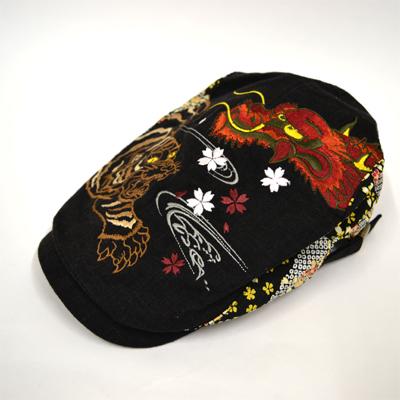画像1: 【帽子】 刺繍ハンチング 龍虎/黒 (1)