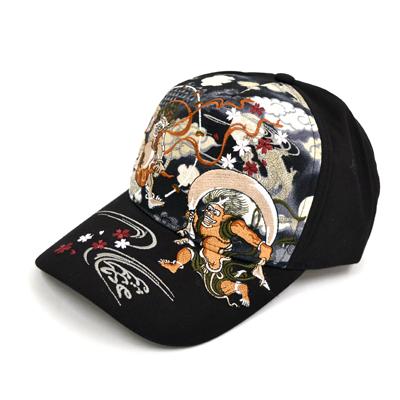 画像1: 【帽子】 刺繍綿キャップ 風神雷神/黒 (1)