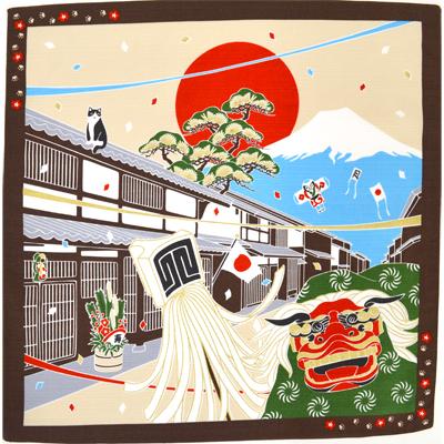 画像1: 【小風呂敷】 お正月 たまのお散歩 (1)
