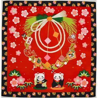 画像1: 【小風呂敷】【四季彩布】 お正月 招き猫 (1)