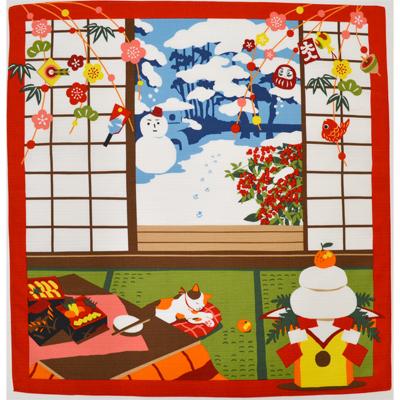 画像1: 【小風呂敷】【三毛猫みけのゆめ日記】 お正月 のんびり  (1)