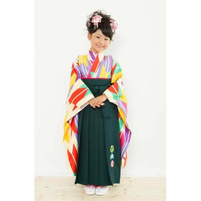 画像1: 【卒業衣装】 女児 卒園着物(紫/ミント) (1)