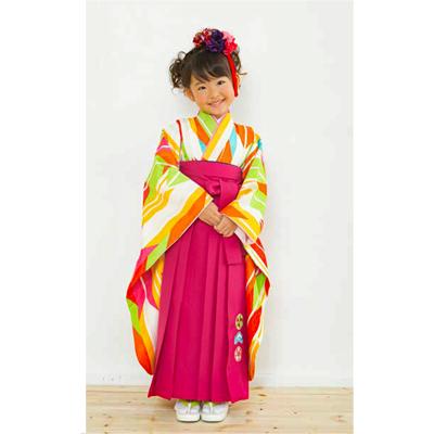 画像1: 【卒業衣装】 女児 卒園着物(オレンジ/黄色) (1)
