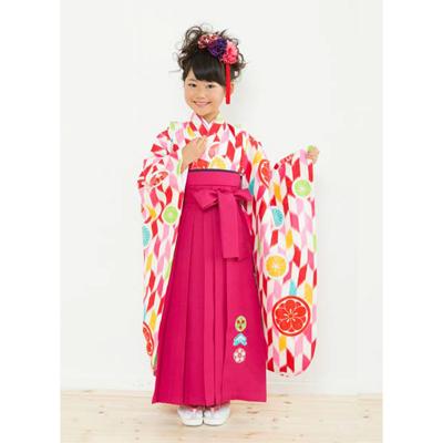 画像1: 【卒業衣装】 女児 卒園着物(ピンク/赤) (1)