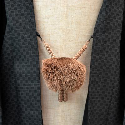 画像1: 【紳士羽織紐】 正絹 丸組み 薄茶 (1)