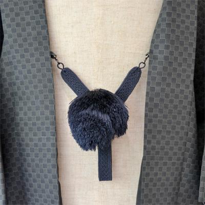 画像1: 【紳士羽織紐】 正絹 綾織り 茄子紺 (1)