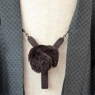 画像1: 【紳士羽織紐】 正絹 綾織り 茶 (1)