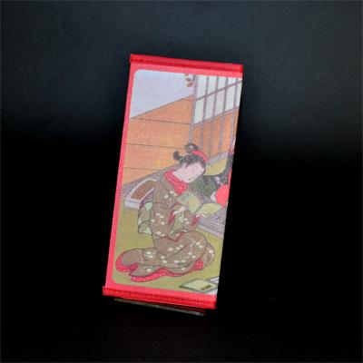画像1: 【財布】 不織布 浮世絵財布 琴美人 5個セット (1)