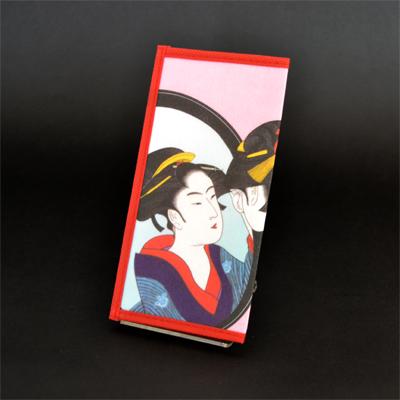 画像1: 【財布】 不織布 浮世絵財布 鏡美人 5個セット (1)
