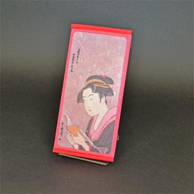 画像1: 【財布】 不織布 浮世絵財布 読書美人 5個セット (1)