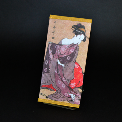 画像1: 【財布】 不織布 浮世絵財布 猫と美人 5個セット (1)