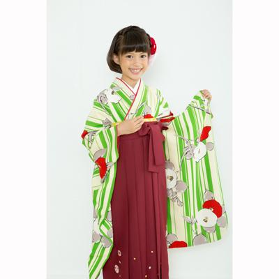 画像1: 【卒業衣装】  Jr着物 縞椿(緑) (1)