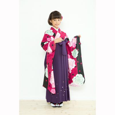 画像1: 【卒業衣装】  Jr着物 水玉薔薇(ワイン) (1)