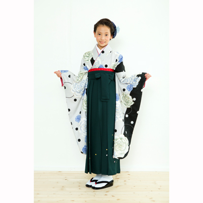 画像1: 【卒業衣装】  Jr着物 水玉薔薇(グレー) (1)