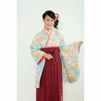画像1: 【卒業衣装】  菊桜(水色) (1)