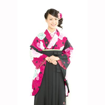 画像1: 【卒業衣装】  水玉薔薇(ワイン) (1)