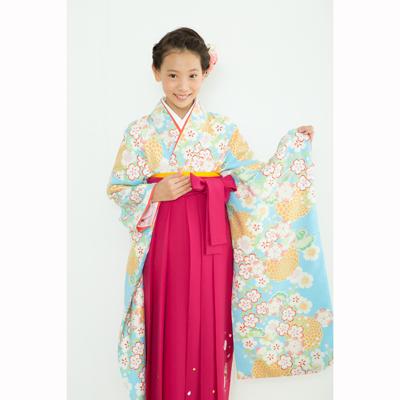 画像1: 【卒業衣装】  Jr着物 菊桜(水色) (1)