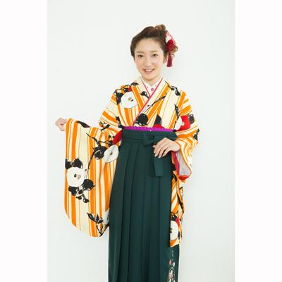 画像1: 【卒業衣装】  縞椿(オレンジ) (1)