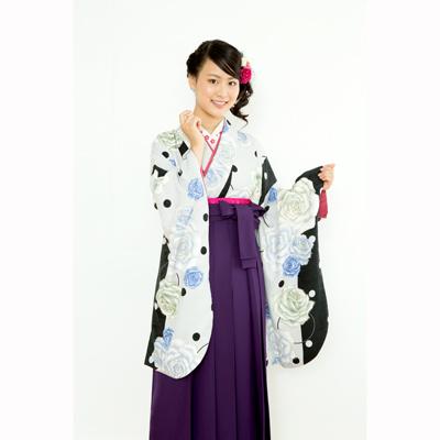 画像1: 【卒業衣装】  水玉薔薇(グレー) (1)