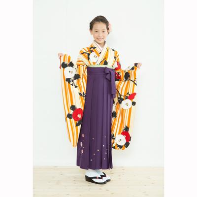 画像1: 【卒業衣装】  Jr着物 縞椿(オレンジ) (1)